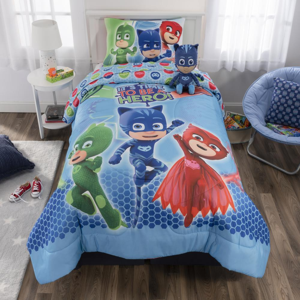 Pjmasks 5 Piece On Our Way Twin Size Bed In A Bag With Cuddle