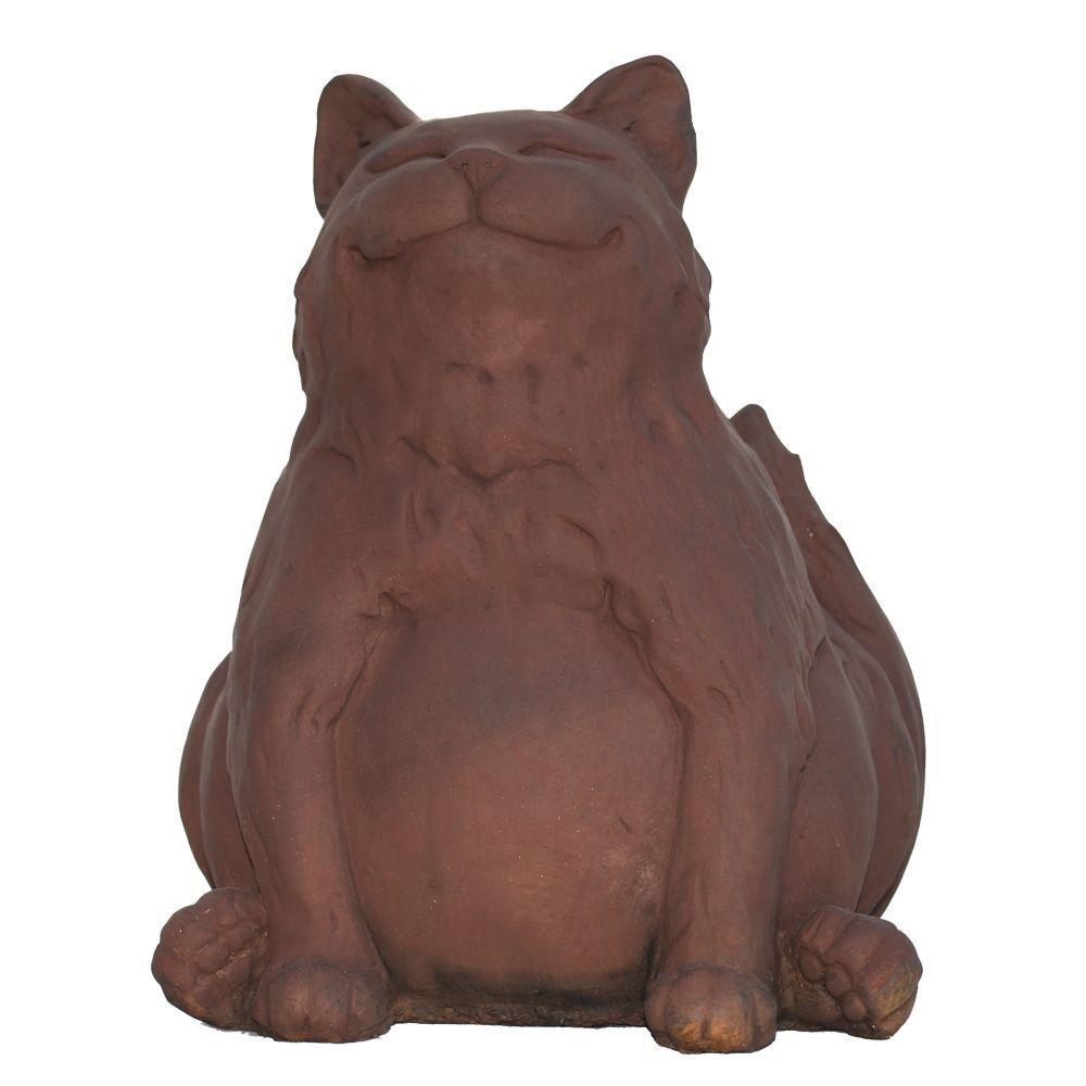 cat garden statue. Cast Stone Happy Fat Cat Garden Statue - Dark Walnut