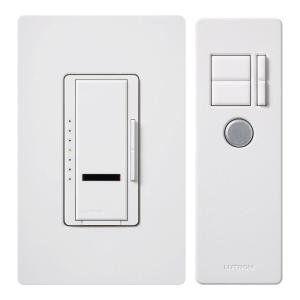 lutron maestro ir 600 watt single pole digital dimmer, white mir