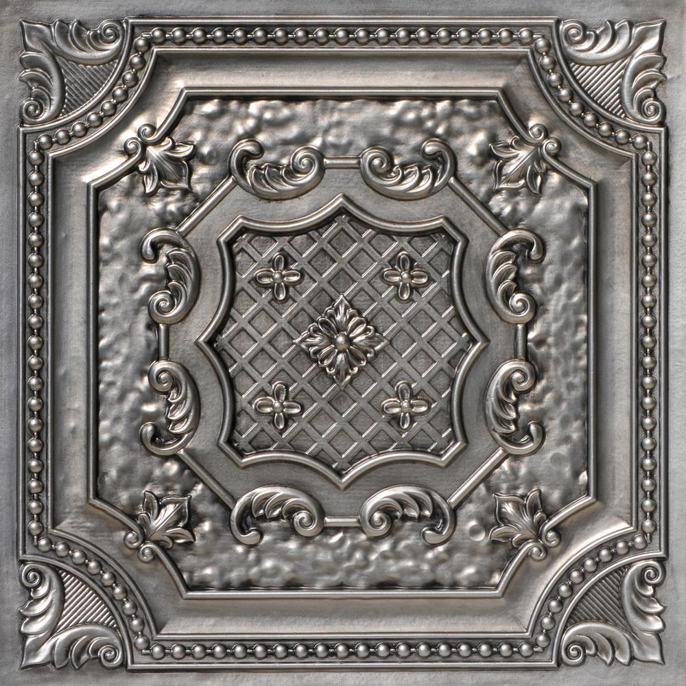 From Plain To Beautiful In Hours Elizabethan Shield 2 ft. x 2 ft. PVC Glue-up or Lay-in Ceiling Tile in Aged Silver