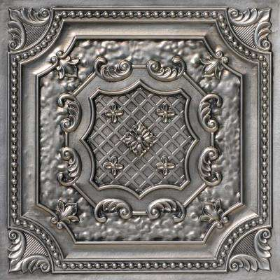 Elizabethan Shield 2 ft. x 2 ft. PVC Glue-up or Lay-in Ceiling Tile in Aged Silver