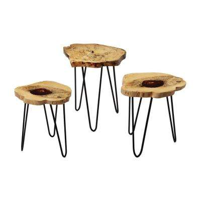 Natural Teak and Bronze 3-Piece Nesting End Table