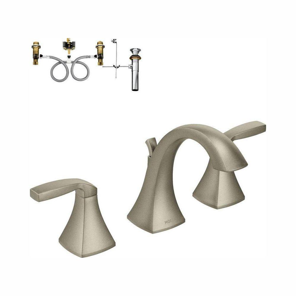 MOEN Voss 8 in. Widespread 2-Handle High-Arc Bathroom Faucet Trim Kit with Valve in Brushed Nickel