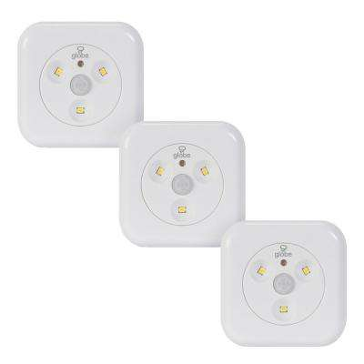 LED White Under Cabinet Motion Activated Puck Light (3-Pack)