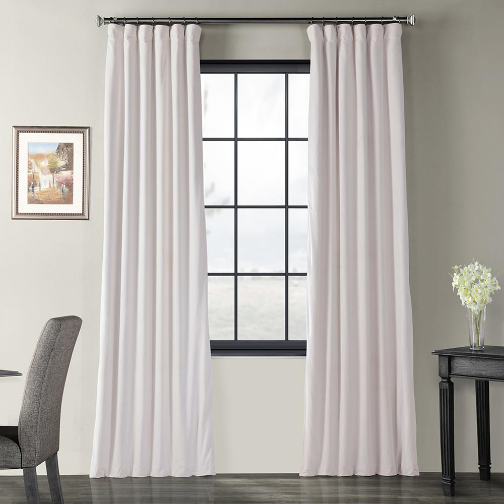 Exclusive Fabrics & Furnishings Blackout Signature Off White Blackout Velvet Curtain - 50 in. W x 96 in. L (1 Panel)