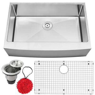 Bryce Farmhouse Apron Front 16-Gauge Stainless Steel 33 in. Single Basin Kitchen Sink with Accessory Kit