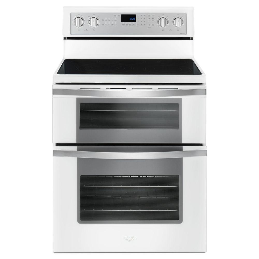 Whirlpool 6.7 cu. ft. Double Oven Electric Range with True Convection in White Ice
