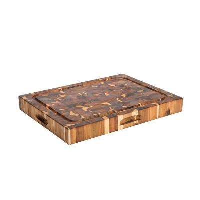 15 in. x 20 in. x 2.25 in. Thick Solid End Grain Acacia Reversible Cutting Board