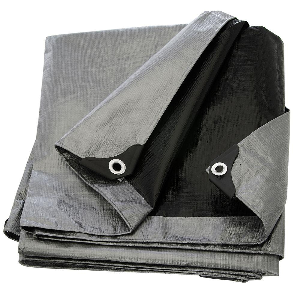 10 ft. x 20 ft. Silver Black Heavy Duty Tarp