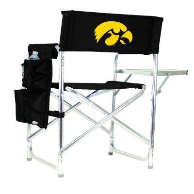 University of Iowa Black Sports Chair with Embroidered Logo