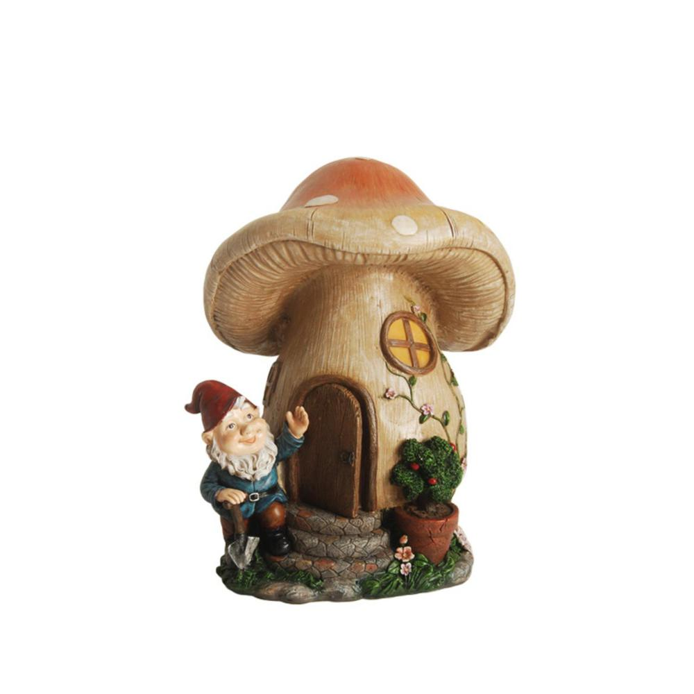 Forest Gnome With Mushroom House Statue