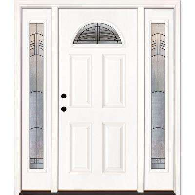 63.5 in. x 81.625 in. Rochester Patina Fan Lite Unfinished Smooth Right-Hand Fiberglass Prehung Front Door w/ Sidelites