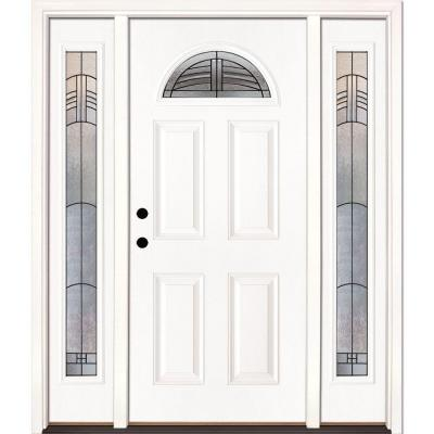 67.5 in. x 81.625 in. Rochester Patina Fan Lite Unfinished Smooth Right-Hand Fiberglass Prehung Front Door w/ Sidelites