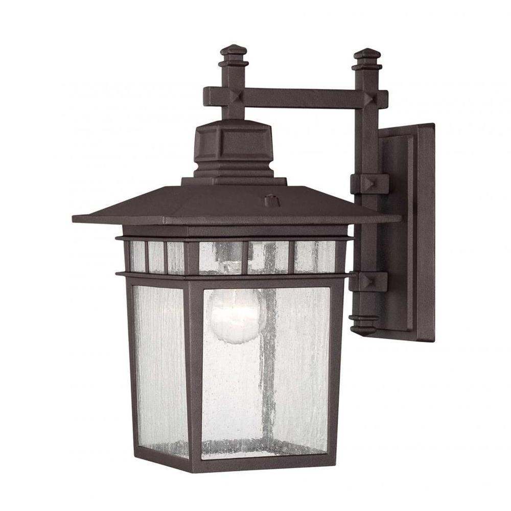 Garcia 1-Light Textured Bronze Outdoor Wall Mount Lantern