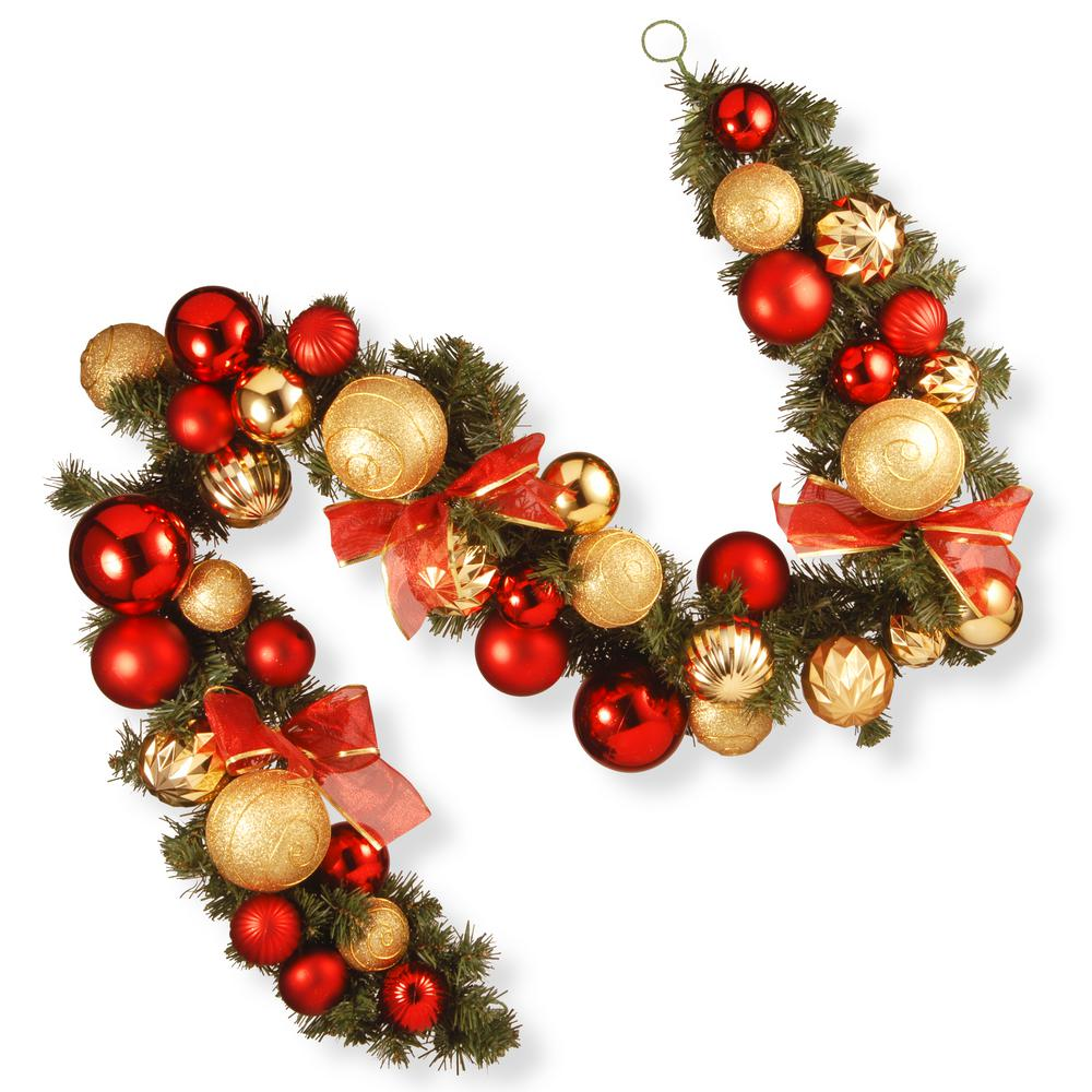 red and green ornament garland