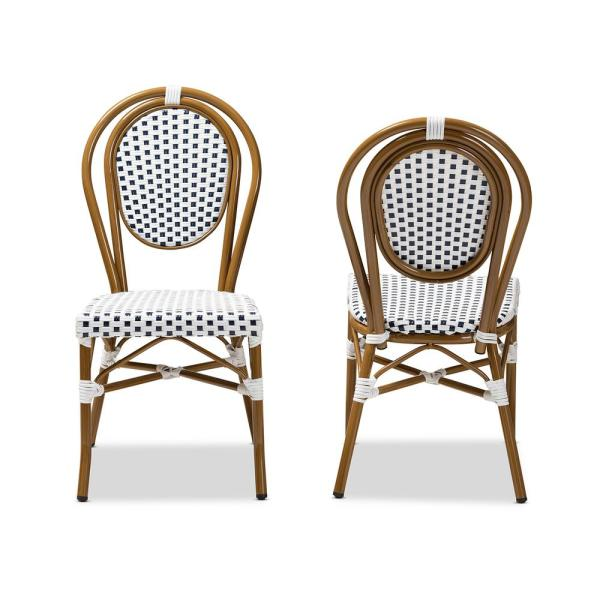 Baxton Studio Gauthier Navy And White Dining Chair Set Of