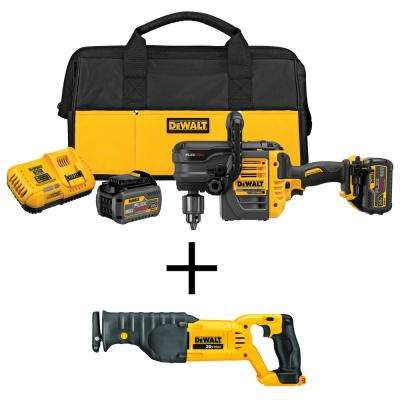 FLEXVOLT 60-Volt MAX Lithium-Ion Cordless Brushless 1/2 in. Stud and Joist Drill with Bonus Reciprocating Saw
