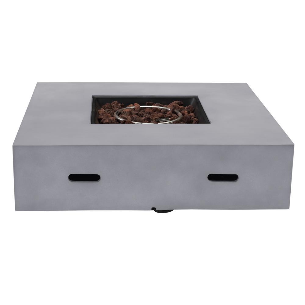 Visalia 42 in. x 11 in. Square Concrete Propane Powered Fire Pit Table