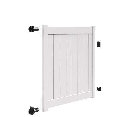 Bryce and Washington Series 5 ft. W x 5 ft. H White Vinyl Drive Fence Gate Kit