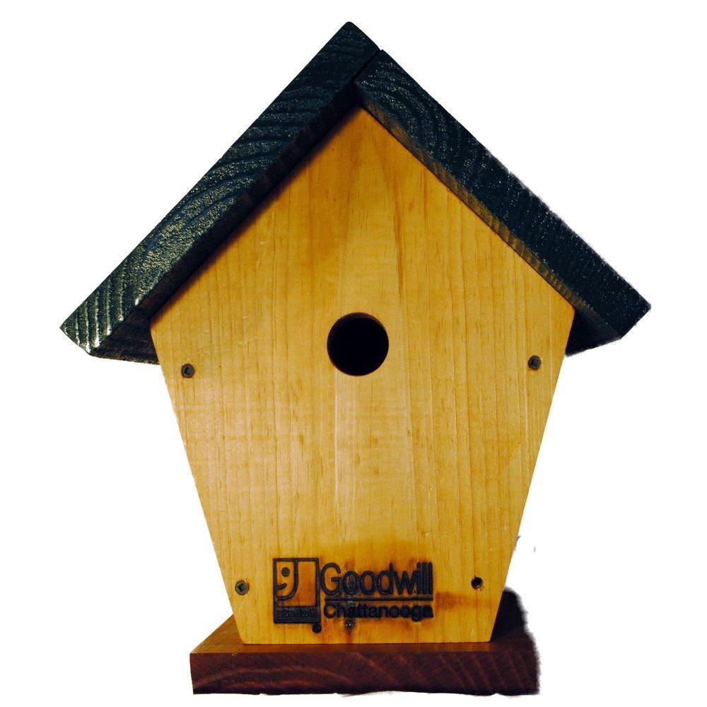 Wren Bird House Finished Pine Blue Top