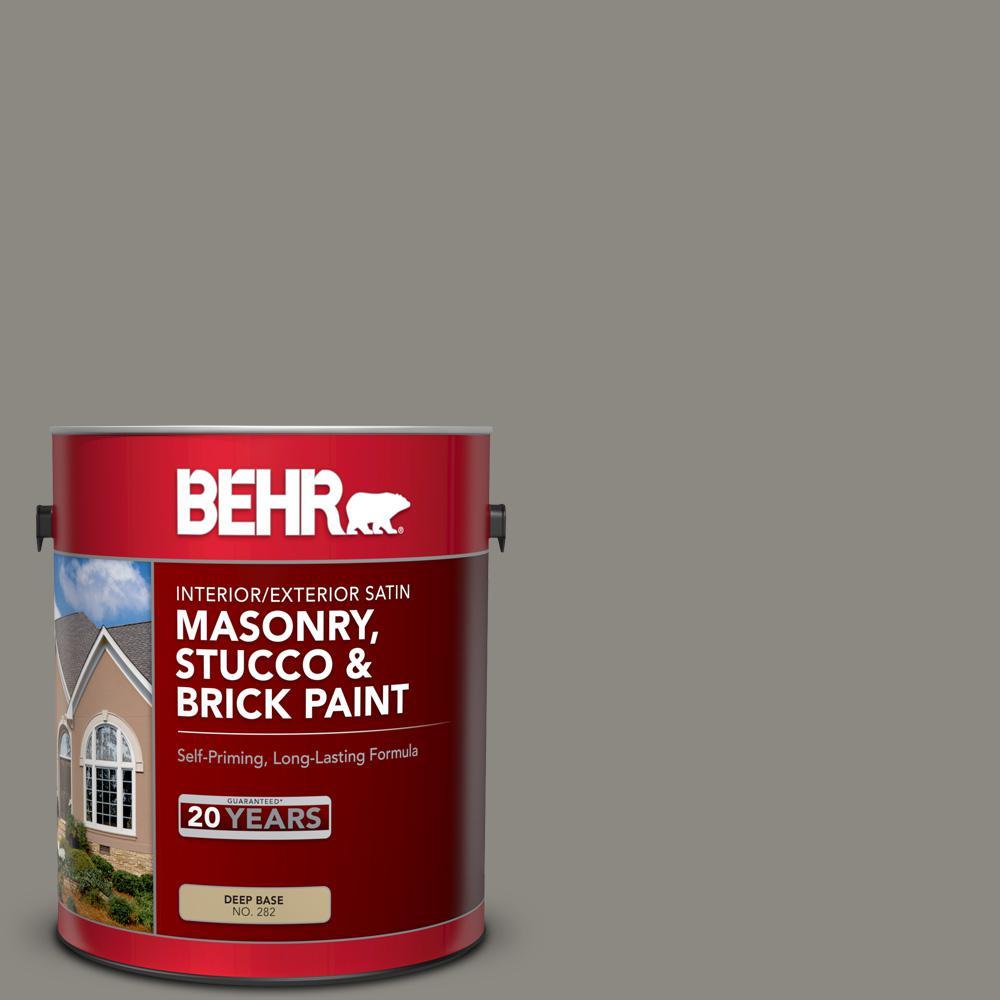 BEHR 1 gal. #BXC-55 Concrete Sidewalk Satin Interior/Exterior Masonry, Stucco and Brick Paint