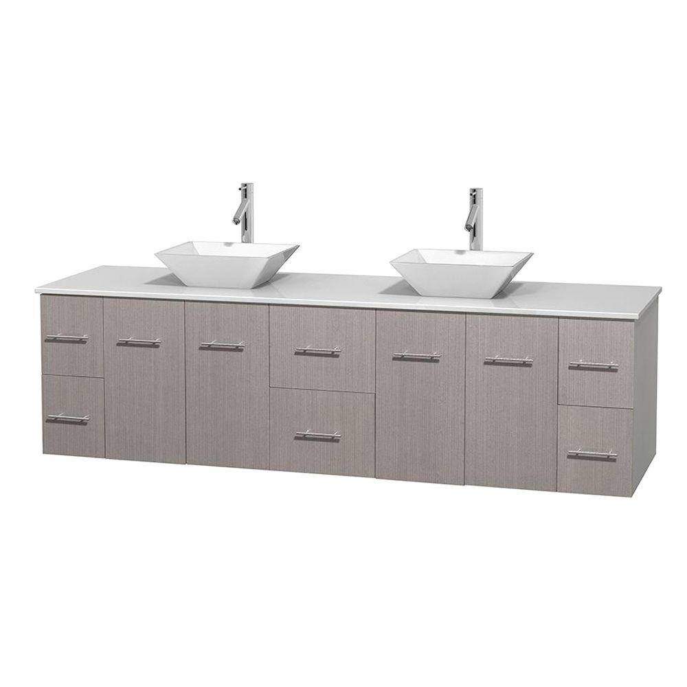 Centra 80 in. Double Vanity in Gray Oak with Solid-Surface Vanity