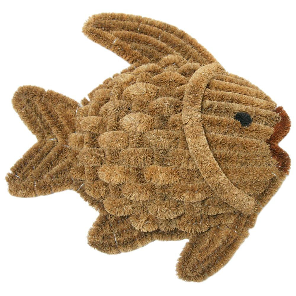 Rubber-Cal Gold Fish Tan 16 in. x 16 in. Coir Boot Scrape...