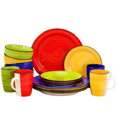 Color Vibes 16-Piece Assorted Colors Round Dinnerware Set