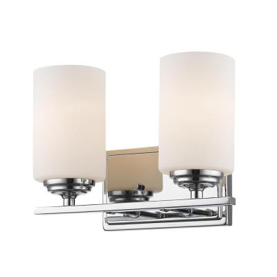 Nicol 2-Light Chrome Bath Light with Matte Opal Glass Shade