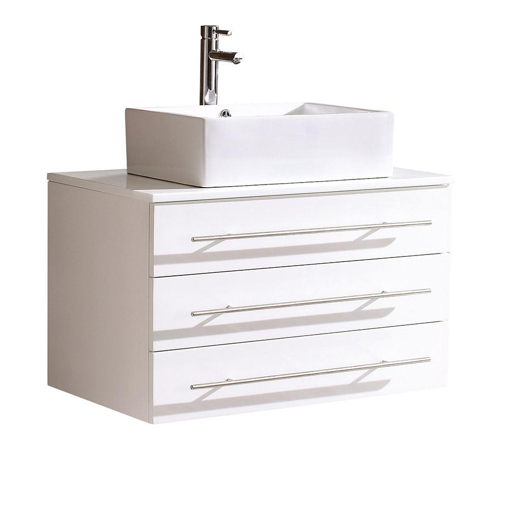 Modell0 32 in. Bath Vanity in White with Marble Vanity Top