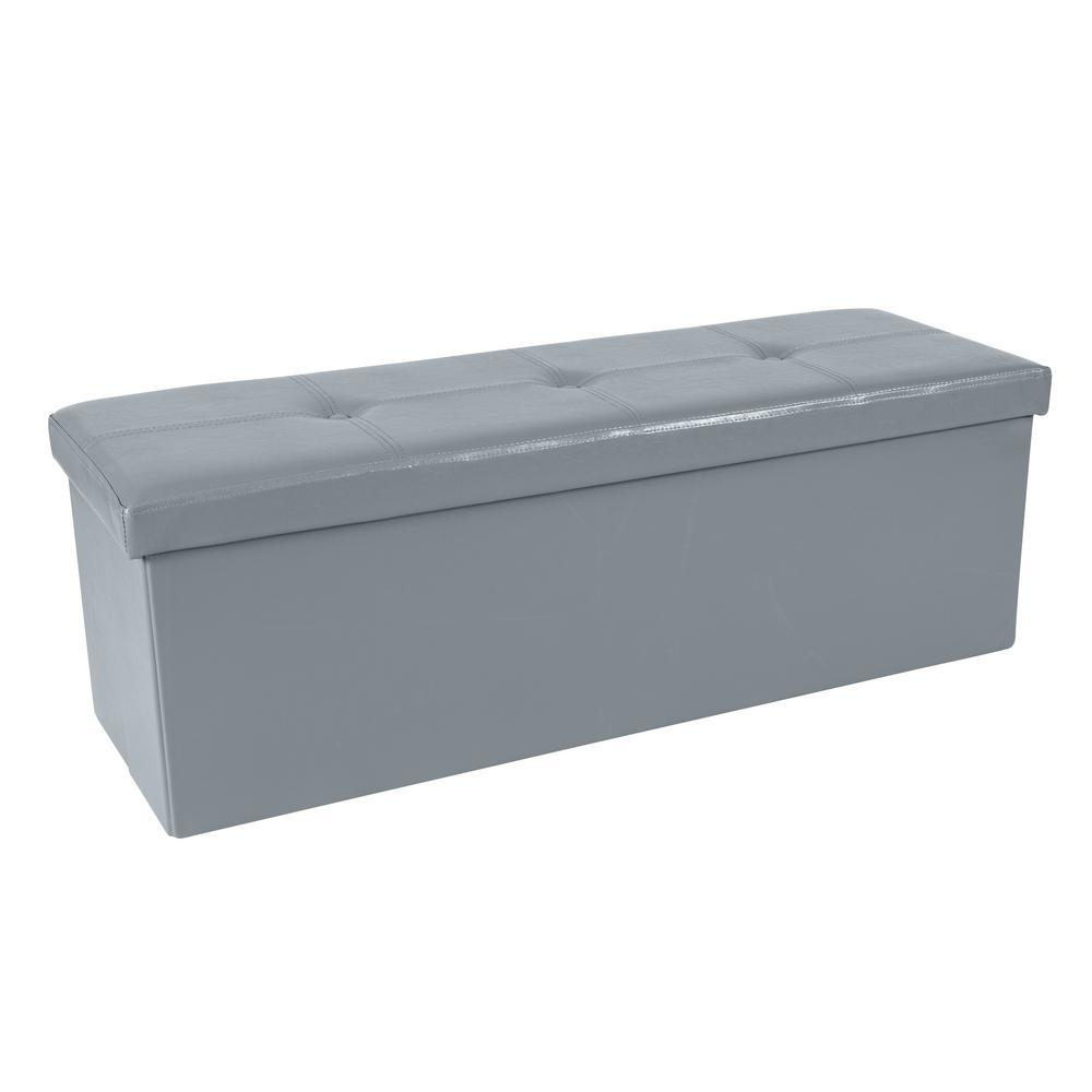 Faux Leather Triple Folding Color Gray Storage Ottoman Bench