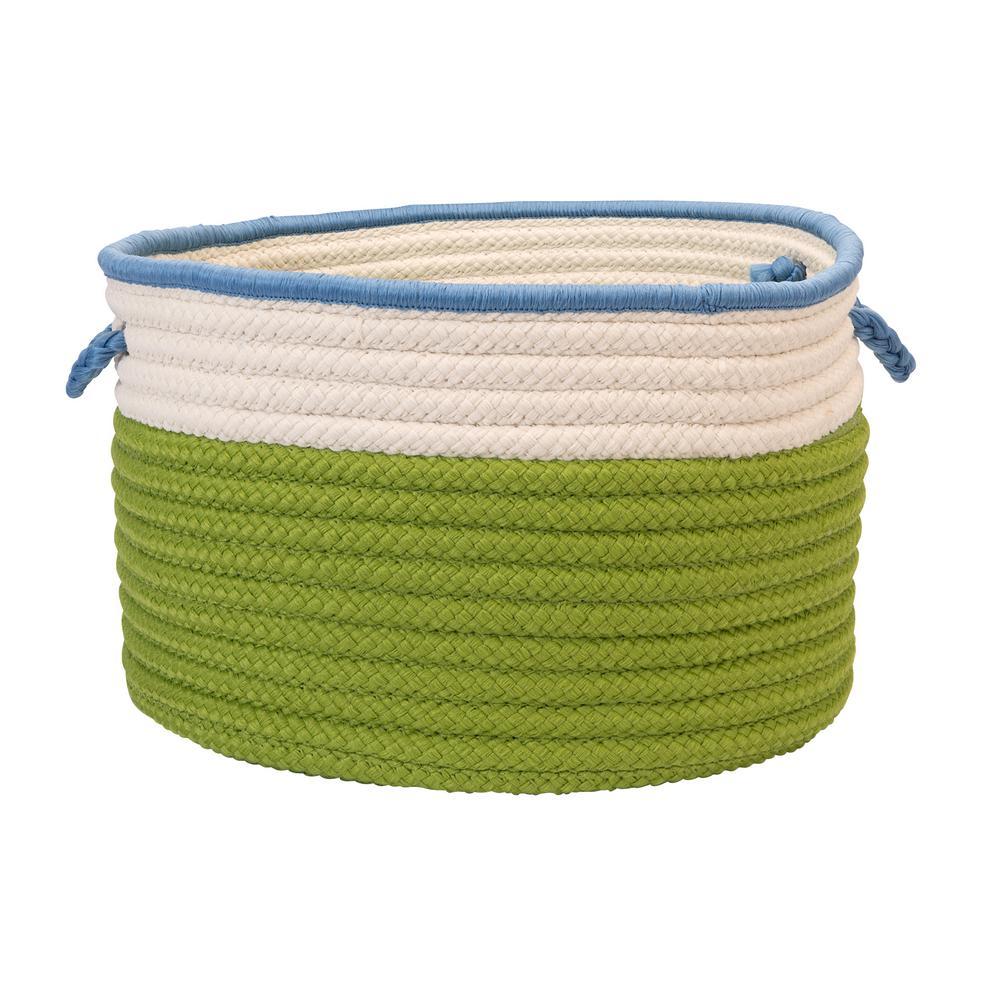 Indoor/Outdoor Bright Green/Bright Blue 22 in. x 22 in. x 14 in. Round Polypropylene Storage Bin