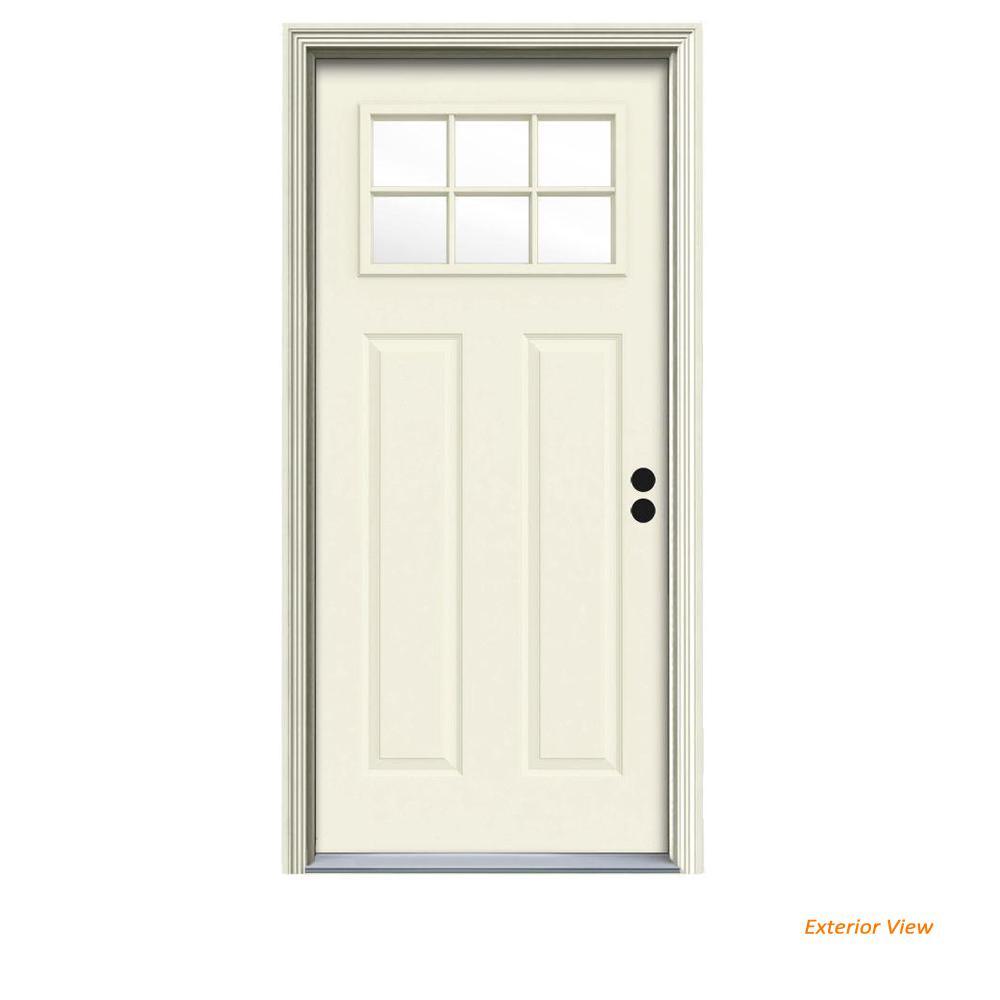 30 in. x 80 in. 6 Lite Craftsman Vanilla Painted Steel Prehung Left-Hand Inswing Front Door w/Brickmould