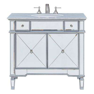 Timeless Home 36 in. W Single Bathroom Vanity in Clear Mirror with Vanity Top in White with White Basin