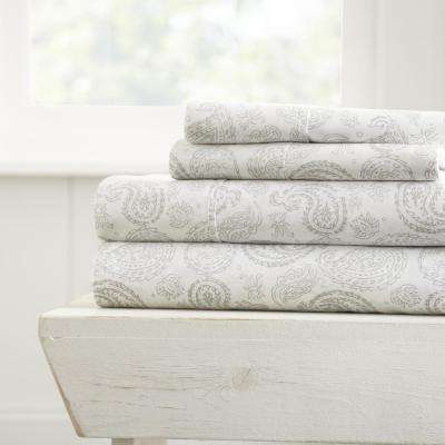 Coarse Paisley Patterned 4-Piece Gray California King Performance Bed Sheet Set