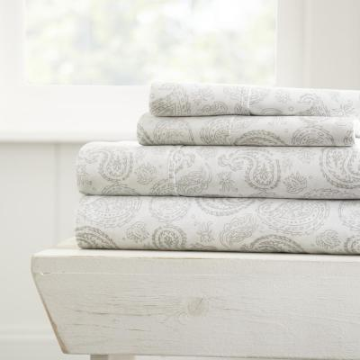 Home Collection 4-Piece Gray Floral Microfiber King Sheet Set