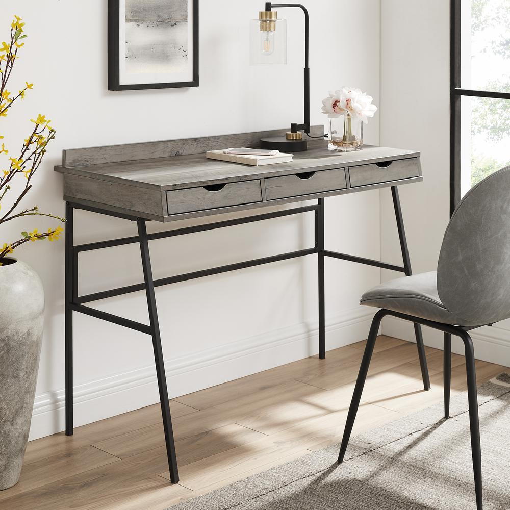 42'' 3-Drawer Angled Front Desk - Grey Wash