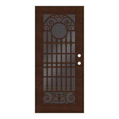 36 in. x 80 in. Spaniard Copperclad Left-Hand Surface Mount Aluminum Security Door with Black Perforated Screen