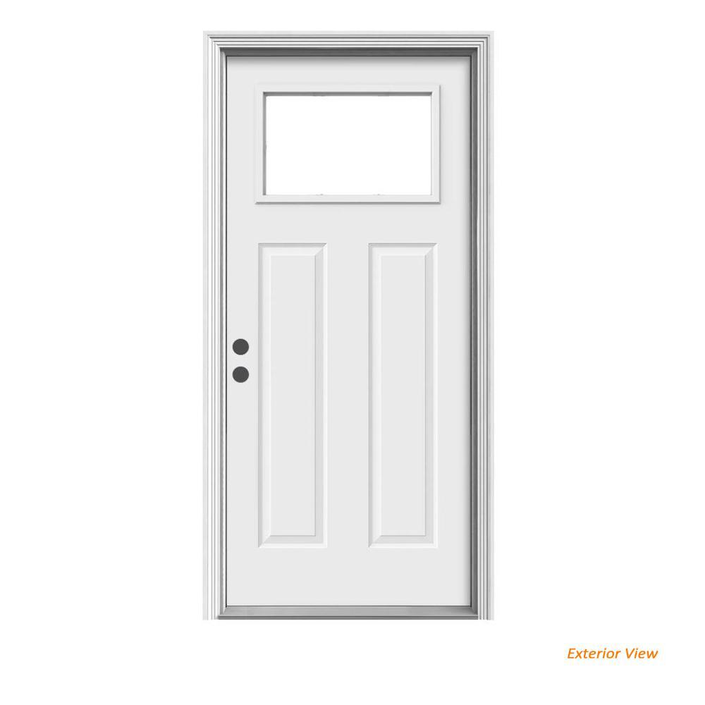 36 in. x 80 in. 1-Lite Craftsman Primed Steel Prehung Right-Hand Inswing Front Door w/Brickmould