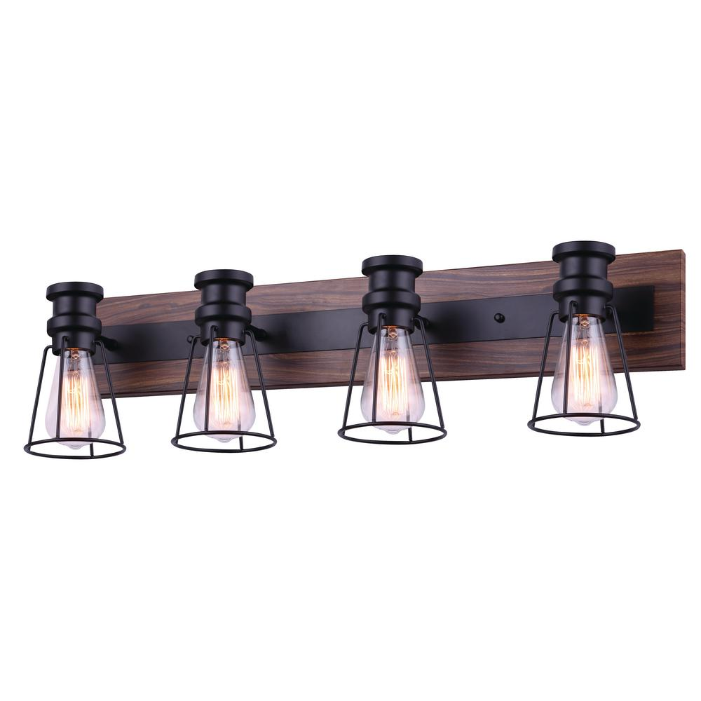 Canarm Blake 32 In 4 Light Matte Black And Faux Wood Vanity Light