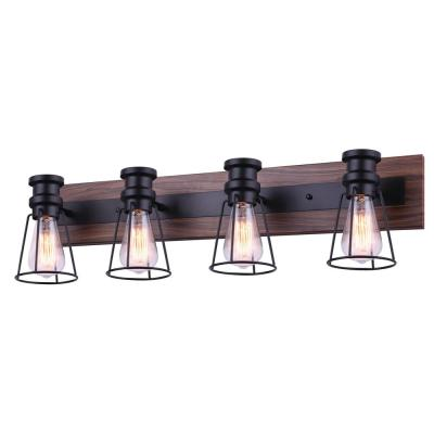 Blake 32 in. 4-Light Matte Black and Faux Wood Vanity Light