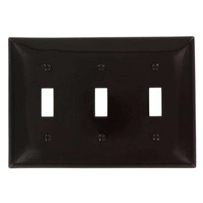 3-Gang 3-Toggles Standard Size Plastic Wall Plate, Brown