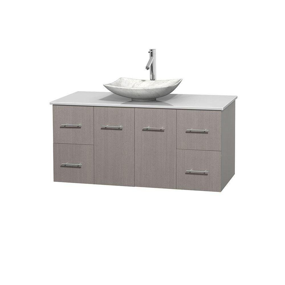 Wyndham Collection Centra 48 In Vanity In Gray Oak With Solid Surface Vanity Top In White And