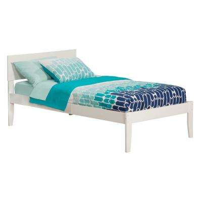 Orlando White Twin Platform Bed with Open Foot Board