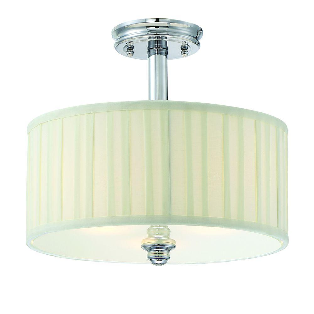Hampton Bay Nadia Collection 3-Light Chrome Semi-Flush Mount Light