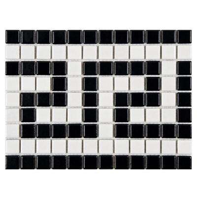 Metro Greek Key Matte White and Black Border 8 in. x 10-1/2 in. x 5 mm Porcelain Mosaic Tile