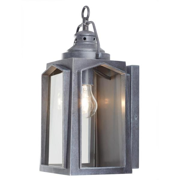 Home Decorators Collection 1 Light Charred Iron Outdoor Wall Lantern Sconce Hd 1510 I The Home Depot