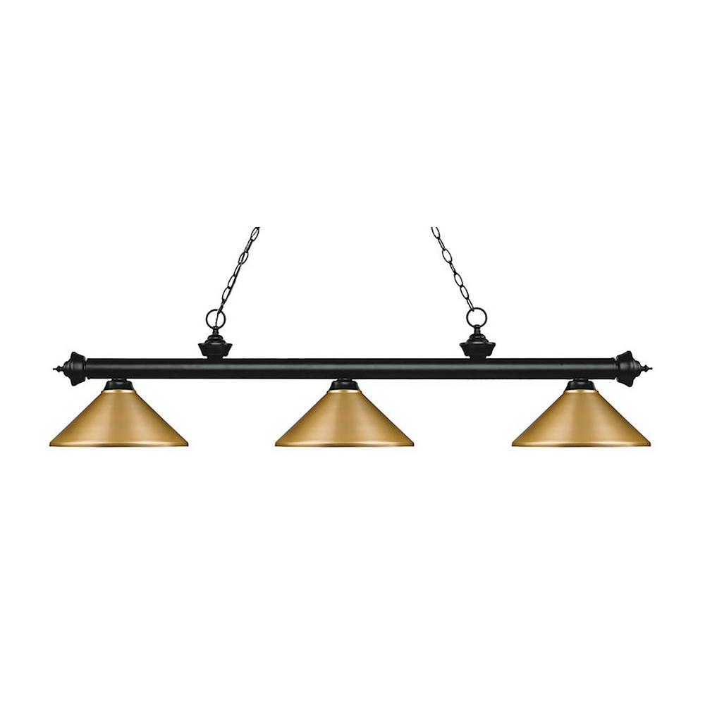 Filament Design 3 Light Matte Black Billiard Light Hd Te075595 The Home Depot