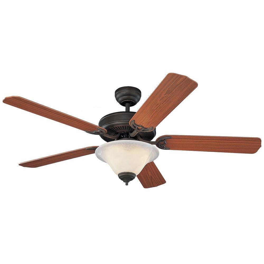 Homeowners Deluxe 52 in. Roman Bronze Teak Ceiling Fan