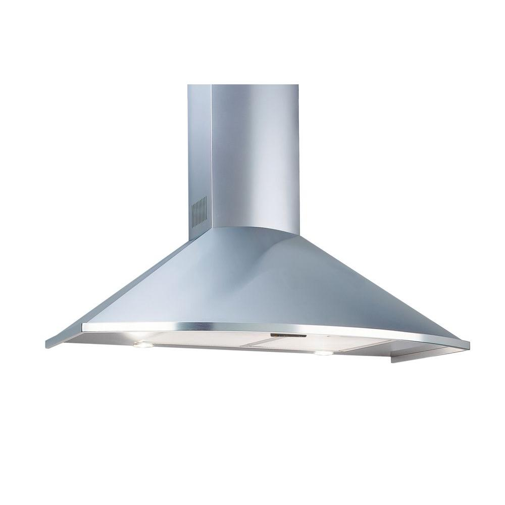 Deco 36 In Wall Mounted Trapezoidal Curved Series Range Hood Stainless Steel